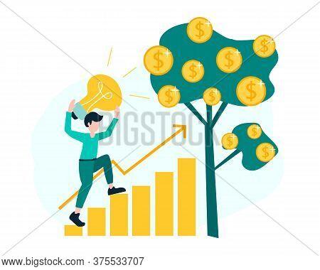 Career Growth, The Path To Success. Creative Idea Building Money Profit Growth. Vector Illustration