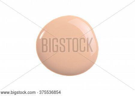 Tone Cream Swatch Isolated On White. Beige Liquid Foundation, Concealer Smear Smudge Drop. Cosmetic