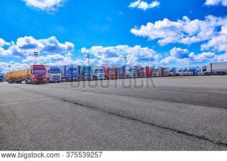 St. Petersburg, Russia - July 27, 2017: Fleet Trucks, Semi-truck And Commercial Vehicles On Customs
