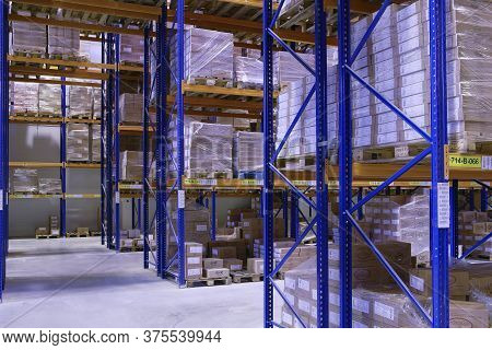 St. Petersburg, Russia - November 21, 2008: Industrial Storage Racks, Pallet Racking System For Ware
