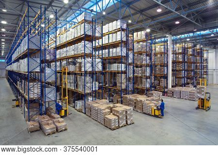 St. Petersburg, Russia - November 21, 2008: Top View Of A Large Warehouse With Adjustable Pallet Rac