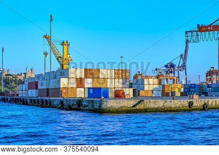 Istanbul, Turkey - February 13, 2020: Uncovered Storage Area Or Container Terminal For  Temporarily