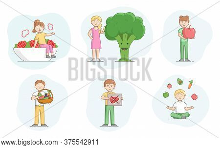 Concept Of Vegetarianism. Set Of Scenes With People Eating Healthy Food. Characters Eat Fruits And V
