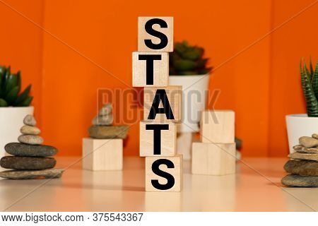 Stats Word Written On Wood Block, Business Concept