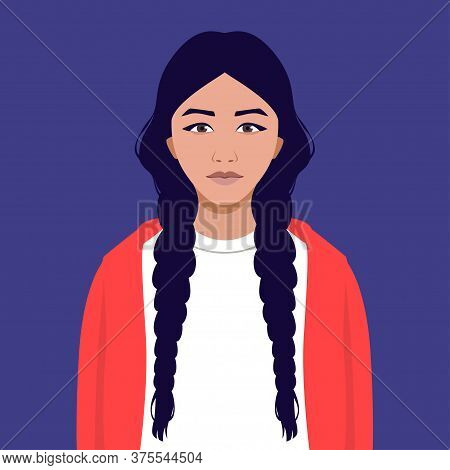 Portrait Of An Indian Young Woman With Braided Plaits