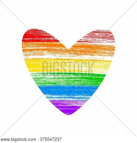 Heart Shaped Lgbt Community Flag. Brush Strokes The Colors Of The Rainbow Isolated On White. Symbol