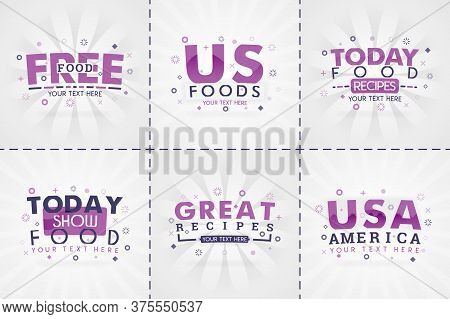 Purple Cooking Book Set For Food And Recipe Magazines. Restaurant Menu Titles Or Badges For Food Sto