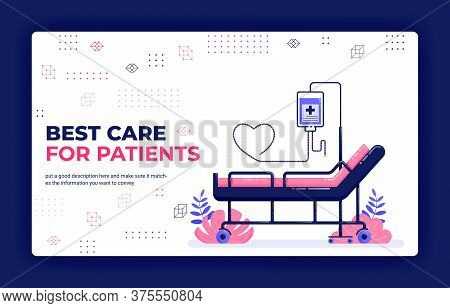 Landing Page Vector Illustration Of Best Care For Patients. Booking Hospital Bed With Infusion And L