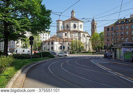 Milan, Italy - April 17, 2018. Church Of San Bernardino Alle Ossa On The Santo Stefano Square And Ba