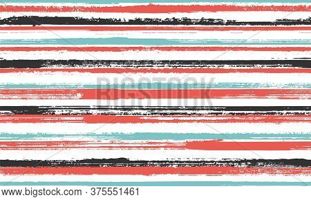 Ink Thin Straight Lines Vector Seamless Pattern. Minimal Tartan Plaid Print Design. Grainy Texture S