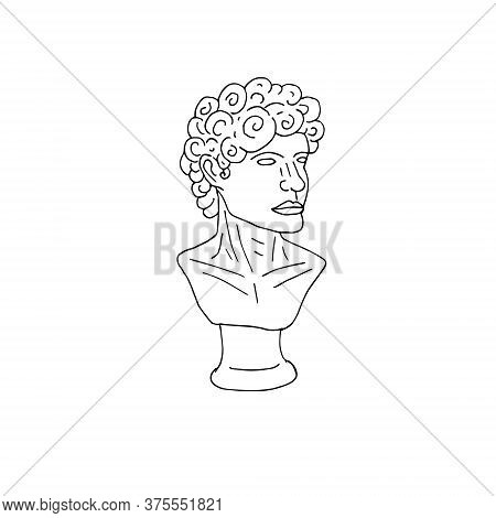 Vector Hand Drawn Doodle Sketch Antique Man Bust Statue Isolated On White Background