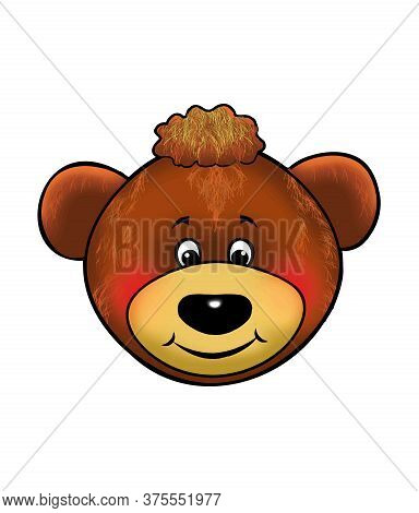 Teddy Bear Head Isolated On White Background, Smiling Face, Funny Character, Happy Little Bear Cute