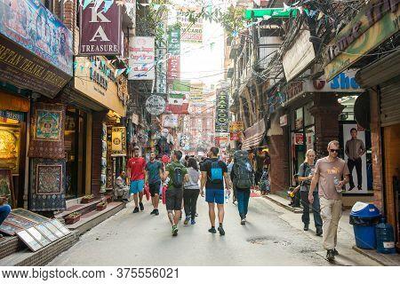 Kathmandu, Nepal : September-28-2018 : Market Street In Thamel District Of Kathmandu. Thamel Is A To