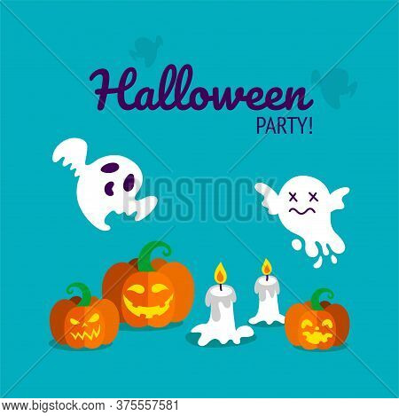 Halloween Party Print With Carved Pumpkins, Candles And Spooky Ghosts. Vector Illustration In Blue B