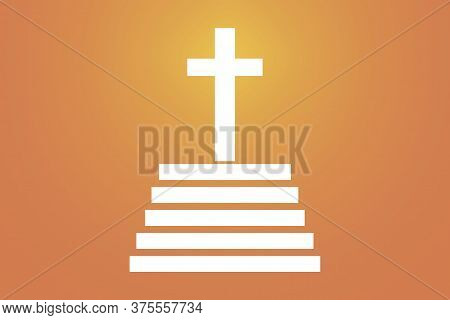 Vector Image Of A Catholic Cross. Crucifixion Of Christ. The Symbol Of Christianity On An Orange Bac
