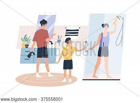 Teenage Boy Help Parents Washing Bathroom Vector Flat Illustration. Happy Family Doing Housework Tog