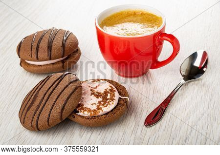 Striped Twin Cookie With Cream Filling, Separated Cookie, Black Coffee In Red Cup, Spoon On Light Wo
