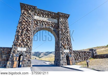 Low Angle View Of The Historic Roosevelt Arch At The North Entrance Of Yellowstone National Park In