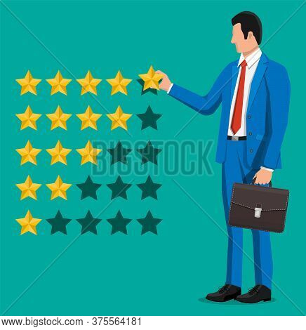 Businessman Puts Rating. Reviews Five Stars. Testimonials, Rating, Feedback, Survey, Quality And Rev