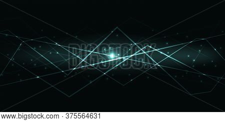 Dark Abstract Background With Green Translucent Luminous Lines And Highlights. Vector Illustration.