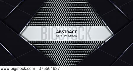 White Luxury Hexagon Carbon Fiber Background. Abstract Background With Black And White Luminous Line