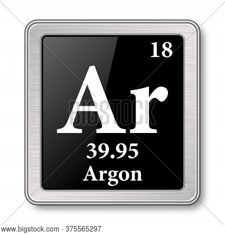 Argon Symbol.chemical Element Of The Periodic Table On A Glossy Black Background In A Silver Frame.v