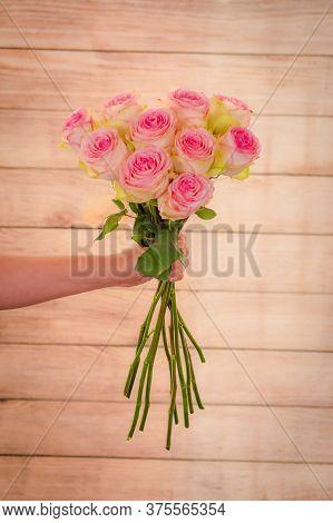 Women Hand Holding A Bouquet Of Esperance Roses Variety, Studio Shot, Pink Flowers