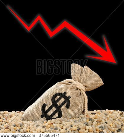 Usd Money Bag Sink Into Rubble And A Fluctuation Arrow On Background Monetary Concept