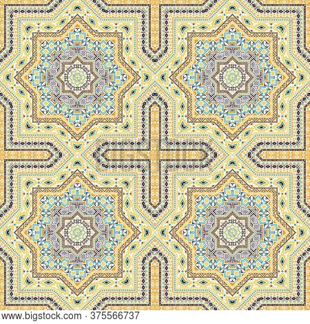 Luxury Moroccan Zellige Tile Seamless Ornament. Ethnic Structure Vector Swatch. Plaid Print Design.