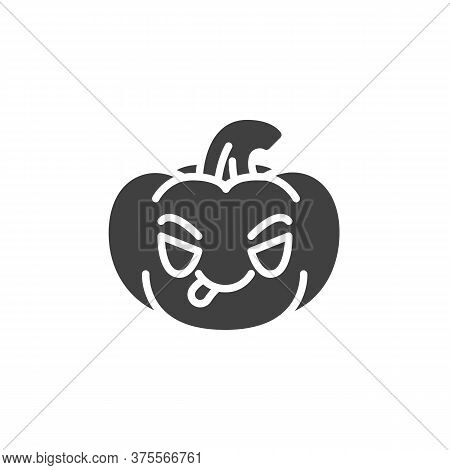 Pumpkin Face Savoring Food Emoji Vector Icon. Filled Flat Sign For Mobile Concept And Web Design. Pu