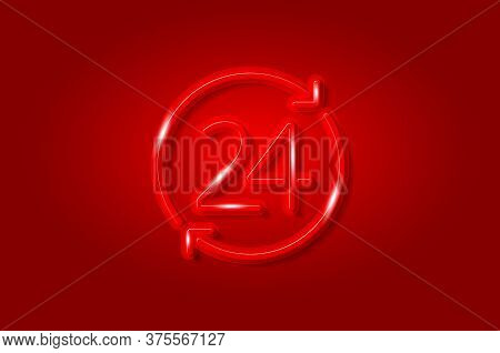 24 Hours, Convenience Store Glowing 3d Symbol, Card Template. Realistic Vector Illustration. Red Bac