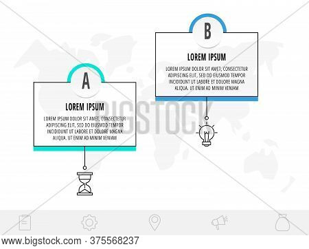 Thin Line Infographic Template With 2 Steps, Labels. Modern Business Concept Infographics With Circl