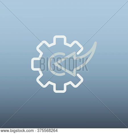 Arrow And Gear Icon Vector Illustration In Trendy Flat Style Isolated On Grey Background. Arrow Symb