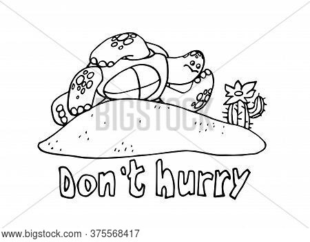 Turtle Resting On The Sand With A Cactus, The Concept Of Vacation, Procrastination, Laziness, Vector