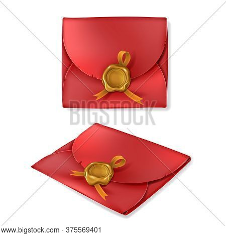 Realistic Golden Wax Seal With Ribbon On Red Vintage Envelope, Isolated On White Background. Blank C