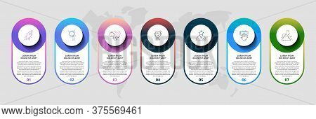 Vector Template Circle Infographics. Business Concept With 7 Options And Parts. Seven Steps For Cont