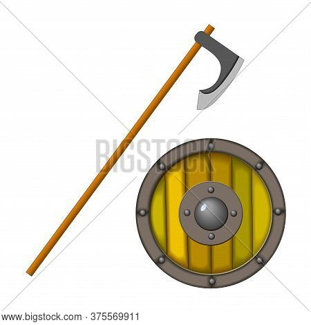 Ancient Edged Weapons Of The Viking Axe And A Wooden Shield With Rivets, Color Vector Illustration I