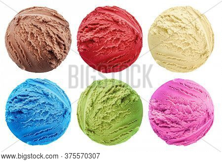 Set of various colorful tasty scoops of ice cream on white background.  Top view. File contains clipping path for each item.