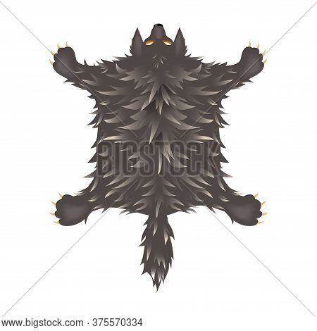 Crucified Shaggy Grey Wolf Skin With Head, Paws And Tail, Interior Element, Color Vector Illustratio