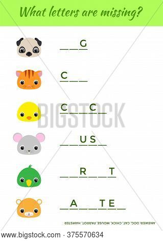 Matching Educational Game For Children With Cute Animals. Write Missing Letters. Educational Activit