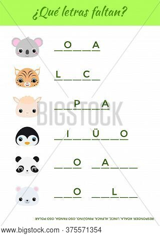¿qué Letras Faltan? - What Letters Are Missing? Complete The Words. Matching Educational Game For Ch