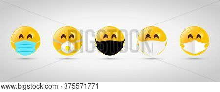 Set Emoji With Black And White Mouth Mask. Yellow Emoji Icon On Grey Template