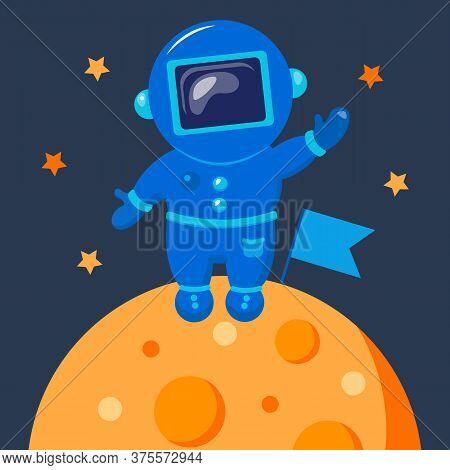 Astronaut Is Alone In Outer Space. Funny Cosmonaut.