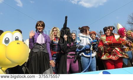 Odessa, Ukraine - 04 01 2019: Participants In The Carnival Procession On The Occasion Of Laughter Da