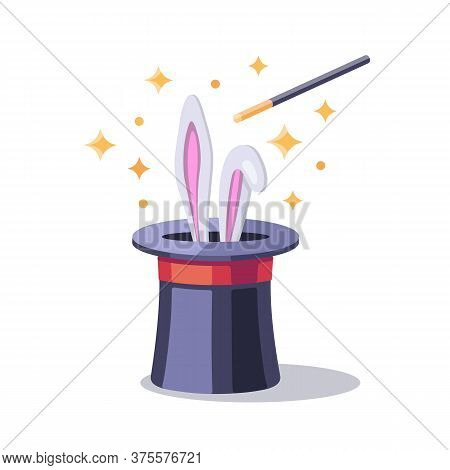 Magician Equipment: Black Magic Hat With Bunny Ears, Magic Wand Iand Stars. A Magic Trick With White