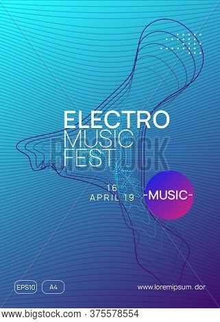 Dj Flyer. Dynamic Gradient Shape And Line. Minimal Concert Magazine Layout. Neon Dj Flyer. Electro D