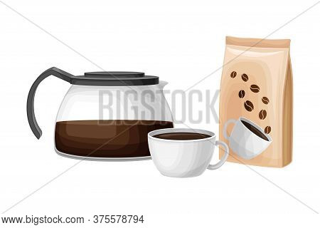 Coffee Glass Brewer With Cup Of Hot Beverage Rested Nearby Vector Illustration