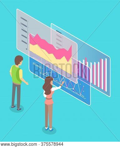 Man And Woman Employees Cooperating And Discussing Business Graph Report On Workplace. Worker Female