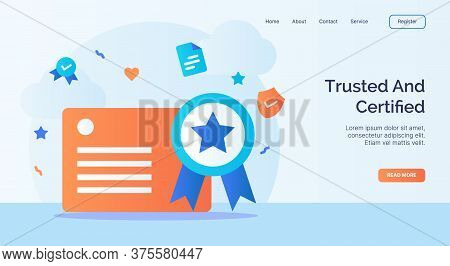 Trusted And Certified License Certificate Icon Campaign For Web Website Home Page Landing Template W