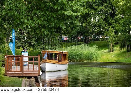Riga, Latvia- July 3, 2020: Boat For Tourists On The Canel Of Daugava River In Riga Downtown, Holida